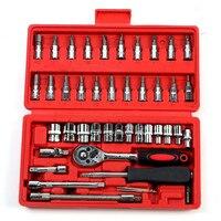 46 sztuk klucz nasadowy z grzechotką zestaw 1/4 ''naprawa samochodów klucz nasadowy wielofunkcyjny zestaw narzędzi ręcznych samochodów narzędzia w Zestawy narzędzi ręcznych od Narzędzia na