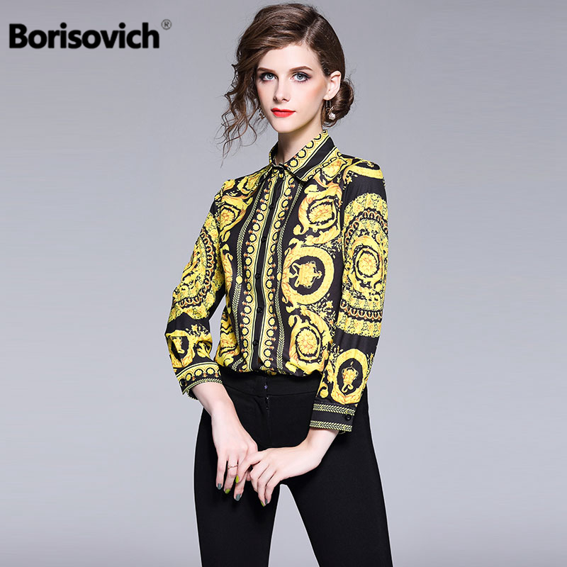 Borisovich Office Lady Turn-down Collar Vintage Print   Shirt   New 2018 Fashion Elegant Women   Blouses     Shirts   Hot Sale M488