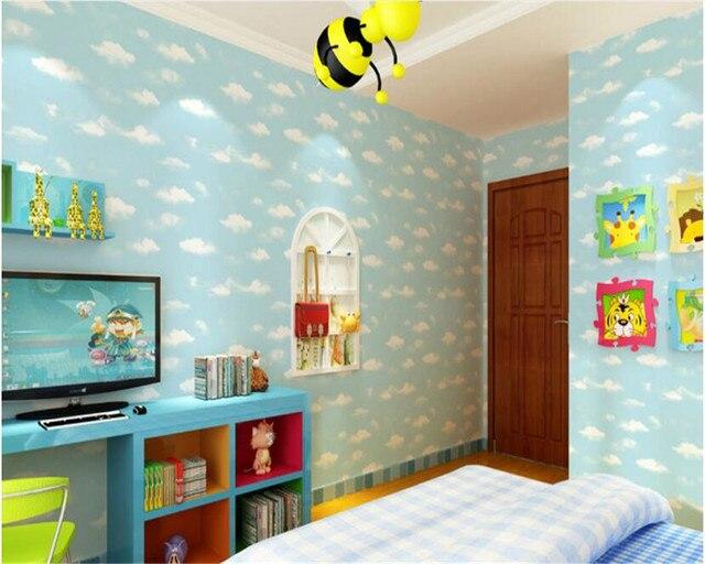 Online Shop beibehang 3D Blue Sky White Cloud Wall paper Eco ...