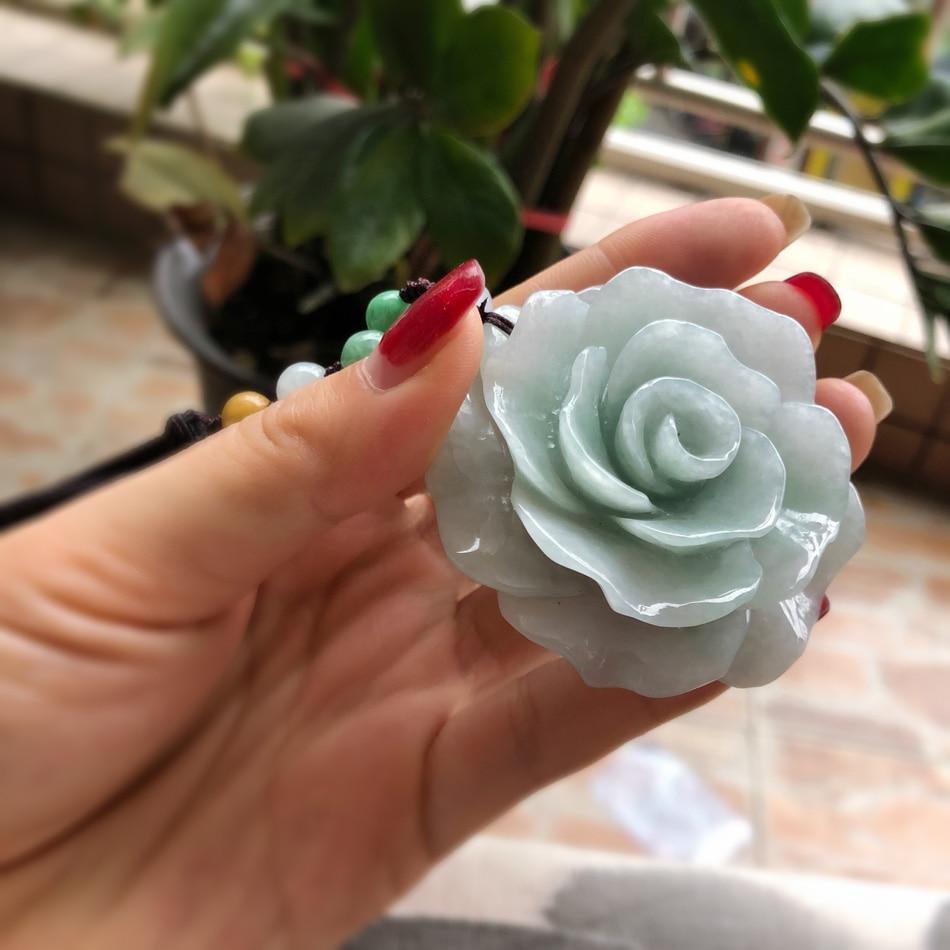 A natural Burmese yu rose pendant peony flower sweater chain yu pei female / цены онлайн