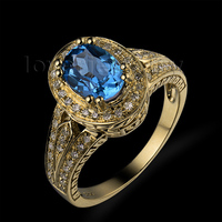 Christmas Natural Diamond Topaz Engagement Ring Solid 14kt Yellow Gold Oval 6x8mm SR0079