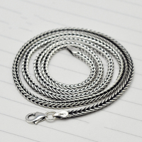 Real 925 Thai Silver Foxtail Chain For Men And Women Personality Retro Vintage Punk Necklaces & Pendants Sterling Silver Jewelry