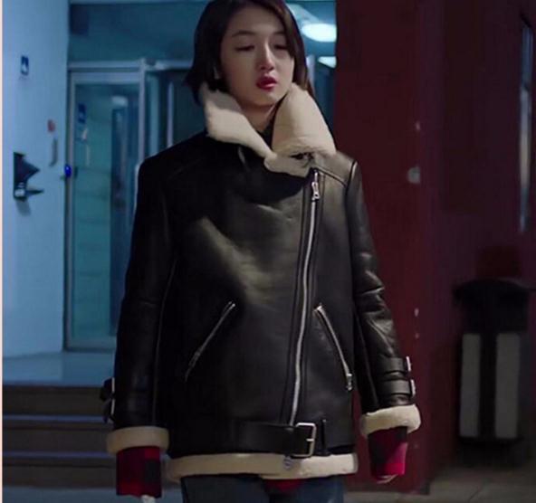 Livraison gratuite, mode femmes 100% Véritable veste en cuir, manteau de fourrure d'hiver. en peau de mouton biker laine vêtements, en peau de mouton