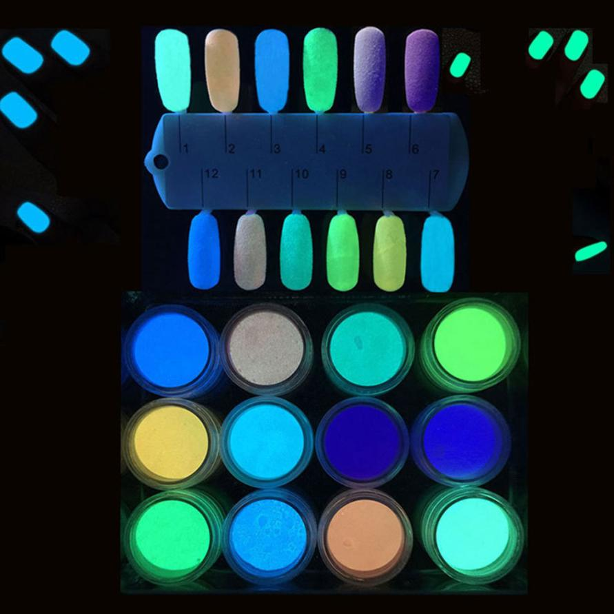 12PCS Glow in The Dark Nail Powder Sand Fluorescent Luminous Neon Pigment Nail ArtJUL11 dropship graffiti party diy glow in the dark luminous pigment lemon yellow