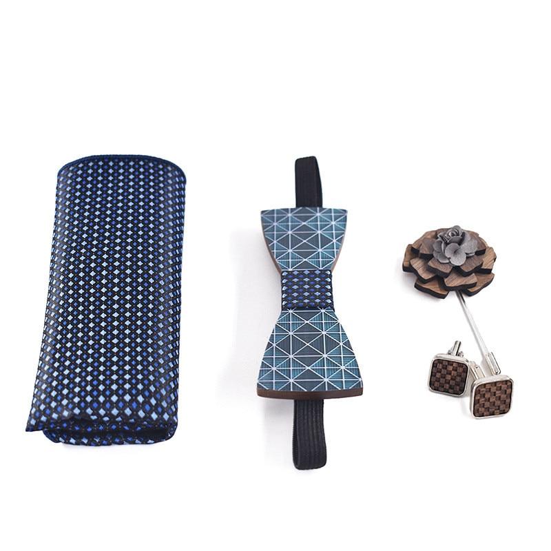2019 Fashion New Adult Digital Printing Handmade Wooden Decorative Bow Tie Set Handkerchief Cufflinks Bow Tie Brooch Quality Set