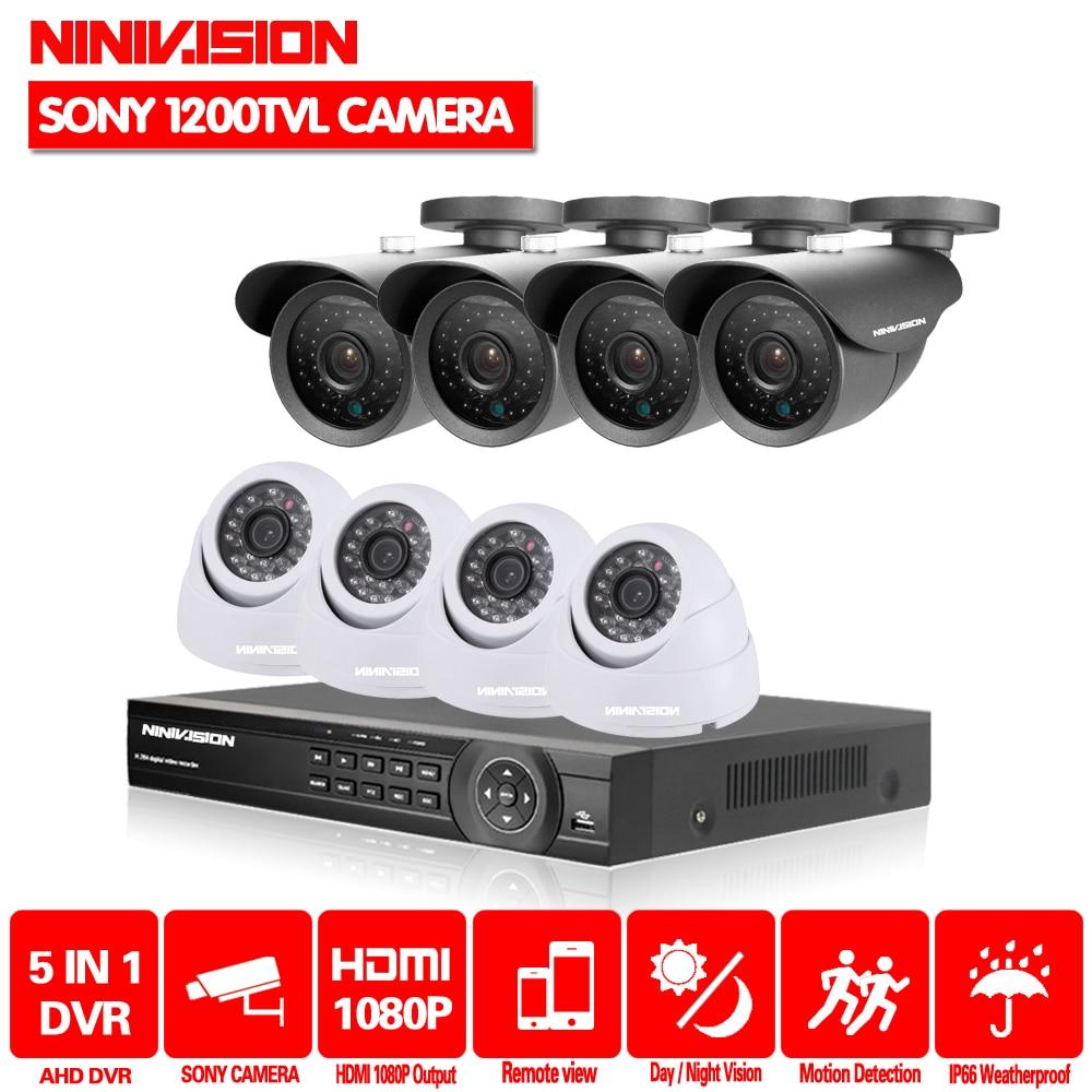 NINNIVISION 8CH AHD 1080 P 1080N 720 P 960 H HDMI DVR SONY 1200TVL 4 Открытый + 4 Купол CCTV главная видеонаблюдения Камера Системы