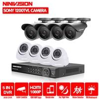NINNIVISION 8CH AHD 1080P 1080N 720P 960H HDMI DVR 1000TVL White Dome CCTV Home Surveillance Security