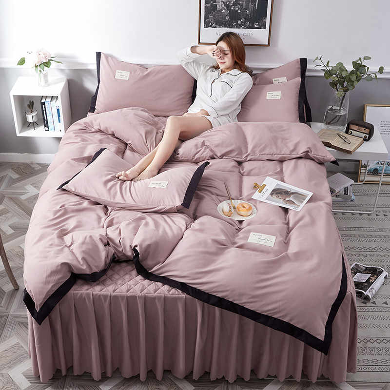 Princess Style 4pcs Bed Sets Bed Duvet Cover Bed Skirt Pillowcase Ruffles Solid Grey Ruby Purple Full Queen Girls Soft Home