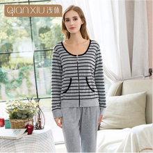 e92bc71720 2018 Autumn Homewear Women Casual striped pajama sets Ladies Velvet  Sleepwear suit Female Long Sleeve Round