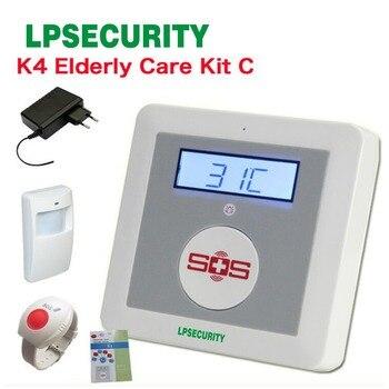 GSM Ouderen guard alarm K4 Gehandicapten Helpen noodknop met SOS knop, pir-sensor, power adapter
