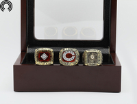 Factory Sales Ring Sets With Wooden Boxes Replica Baseball Copper High Quality 3pcs Packs Cincinnati Reds