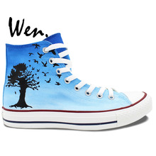 Wen Hand Painted Shoes Design Custom The Beatles Black Birds Men Women's High Top Canvas Sneakers for Birthday Gifts