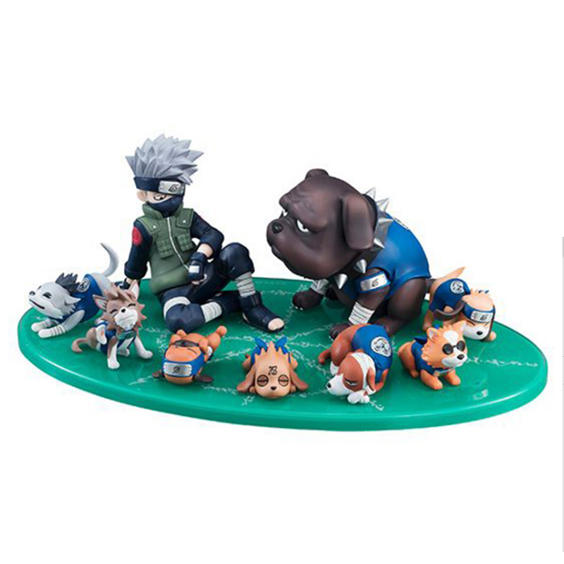 9pcsset Naruto Shippuden Figure Hatake Kakashi Eight Ren Dogs PVC Action Figures Collectible Model Toy Gift (1)