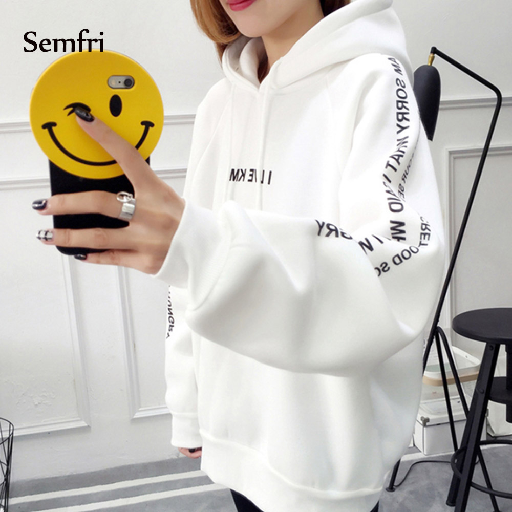 Semfri Hoodies Women Letters Printed Casual Hoodies Sweatshirts Autumn Winter Pullover Loose Thicken Harajuku Sweatshirt