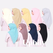 Muslim head coverings muslim hijabs bonnet muslim dubai women's 110cm*110cm chiffon square scarf hijab turban muslim hijab caps