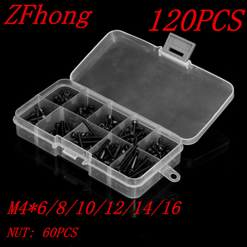 120pcs M4 hex socket Screw Kits DIN912 Black Hex Socket Head Cap Screw With Nut M4*6/8/10/12/14/16mm цена