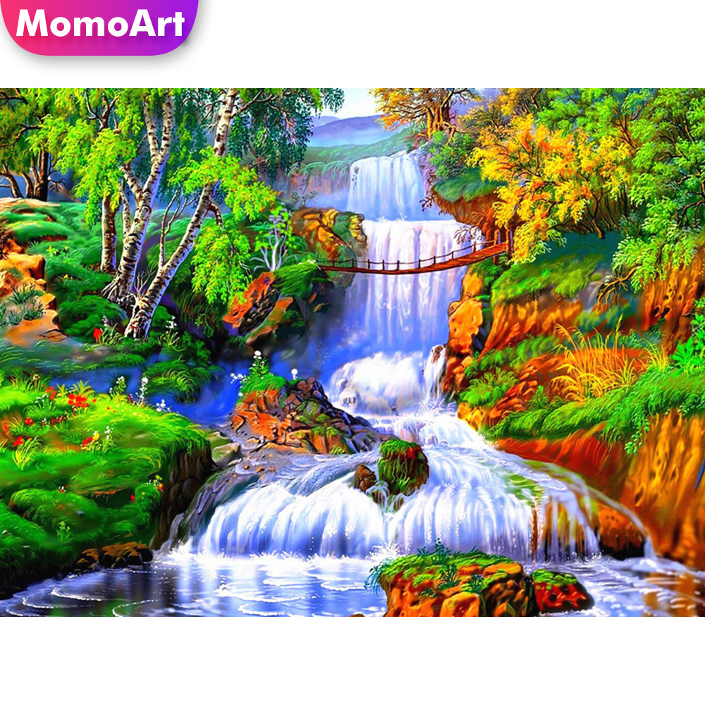 MomoArt Diamond Painting Landscape Mosaic Full Square Rhinestone Embridery Mountain Art