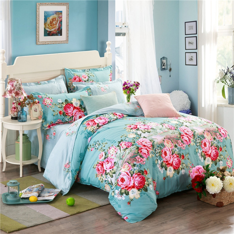 100% Cotton Floral Bedding Set Twin Full Queen King Size Nature Duvet Cover Pillow Cases High Quality 3pcs