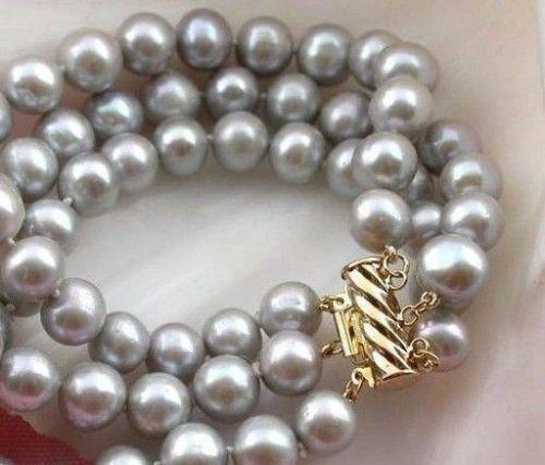 Triple brin AAA + 9-10 MM naturel mer du sud véritable gris perle BRACELET or