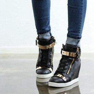 Image 4 - 2018 ฤดูใบไม้ผลิฤดูใบไม้ร่วงสไตล์ Wedges รองเท้าผ้าใบผู้หญิง PU หนังส้นสูงรองเท้าสบายๆรองเท้าผ้าใบสีดำสีขาว