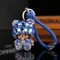 Envío gratis Linda Monchichi Rhinestone Llavero Muñeca Llavero bolso de Las Mujeres Bolsa de la cadena dominante Del Coche de Cuero colgante Encanto porte clef