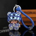 Free shipping Cute Monchichi Keychain Rhinestone Doll Leather Car Keyring Women handbag key chain Bag Charm pendant porte clef