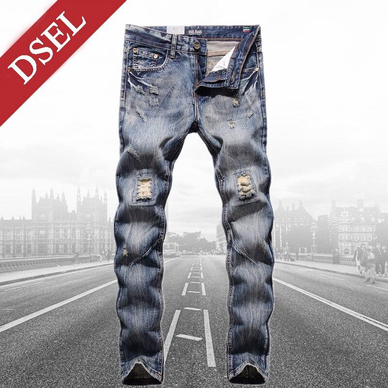 Big Sale Mid Stripe Slim Fit Men`s Patch Jeans Denim Pants Quality Dsel Brand Clothing Designer Ripped Jeans Men 29-40 Y604 patch jeans ripped trousers male slim straight denim blue jeans men high quality famous brand men s jeans dsel plus size 5704