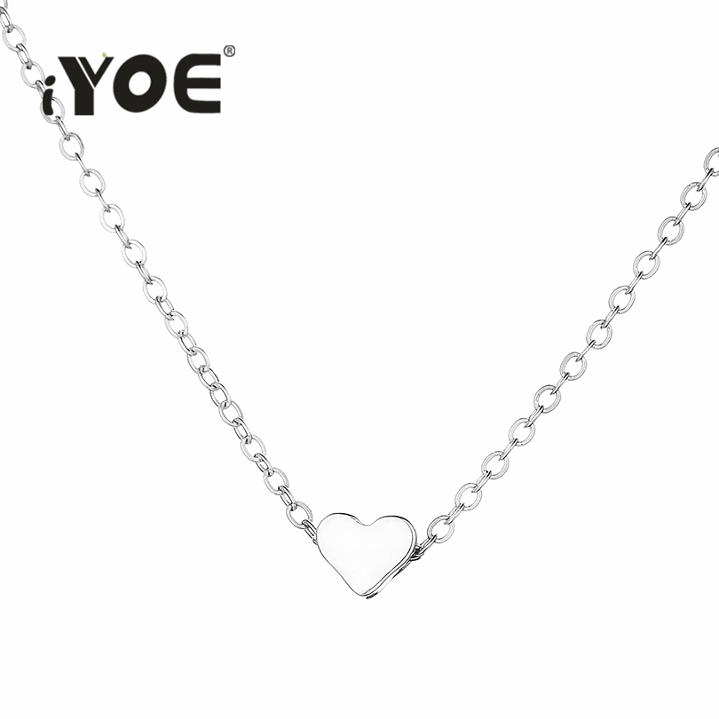 IYOE Fashion Cute Tiny Love Heart Charm Choker Necklace For Women Girls Gold Silver Color Simple Chain Necklaces Female Jewelry