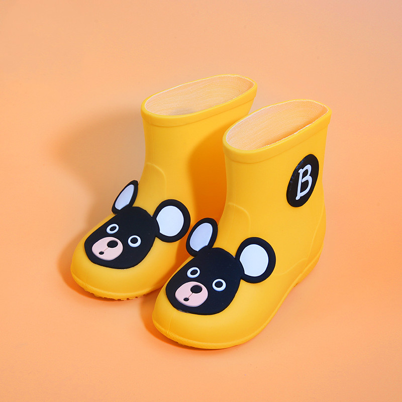 NEW Kids Shoes Classic Boys Girls PVC Rubber Rainboots Baby Cartoon Mouse Candy Colors Water Shoes Children Waterproof Rain Boot