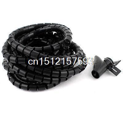 Flexible Spiral Tube Cable Wire Wrap PC Cord Management w Clip 5M 16Ft Black 11m long flexible black pe polyethylene spiral cable wire wrap tube 8mm