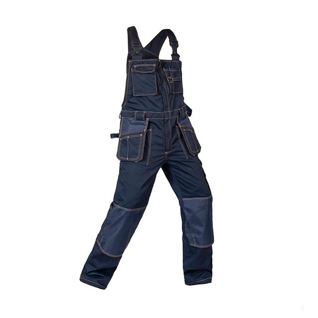2018 Bib Overalls Men Work Coveralls Multi-Functional Pockets Repairman Strap Jumpsuits Pants Wear-Resistance Working Uniforms 3