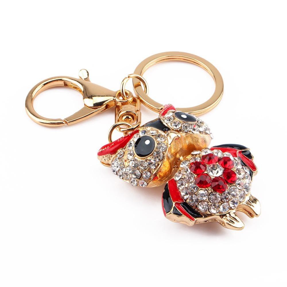 Owl Gold Charm Crystal Keychains