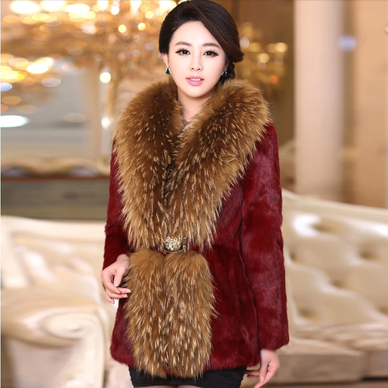 2017 slim rabbit fur big raccoon faux rabbit fur big raccoon outerwear female medium long