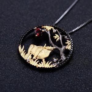 Image 3 - GEMS BALLET Natural granate rojo hecho a mano creativo colgante collar 925 plata esterlina buey paciente Zodiaco joyería para las mujeres