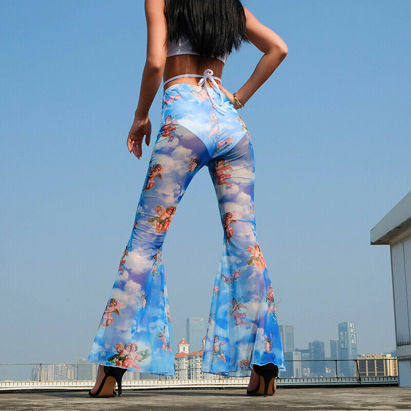 High Waist Angel Print Flared   Pants   Women Beach Mesh Sheer Transparent Long   Pants   Trousers Bell-Bottom
