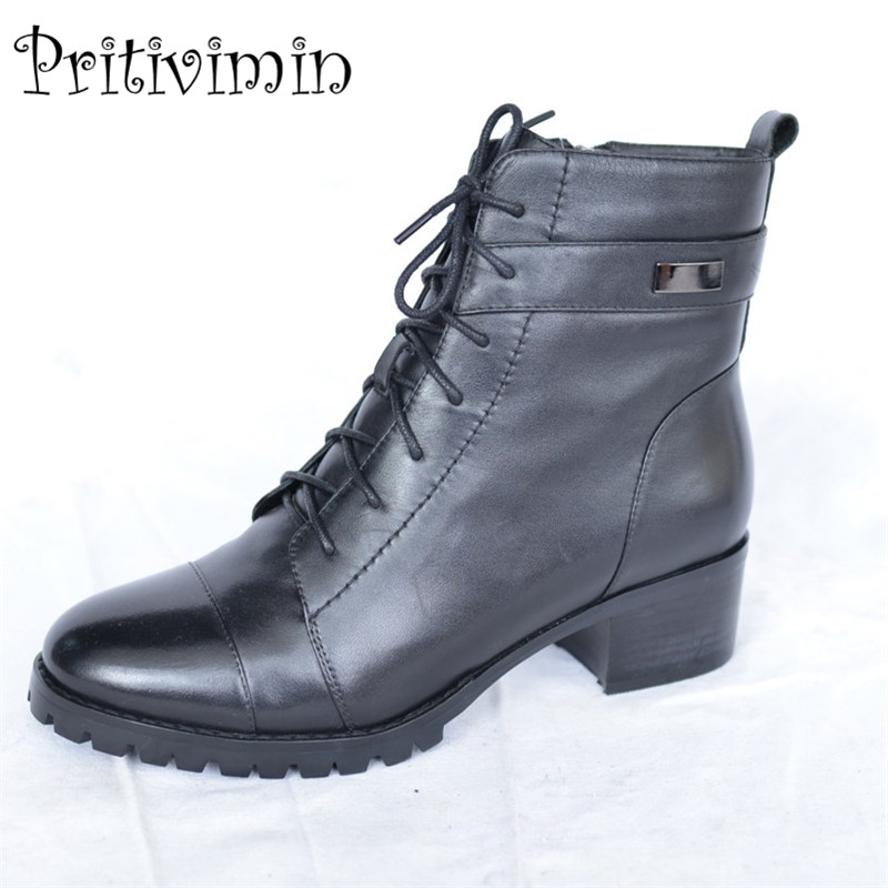 2017 Women winter warm short ankle boot ladies thick heel real fur lined lace up boot girl leather handmade shoe Pritivimin FN36
