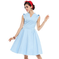 2017 Vintage A Line Dress V Neck 1950s Summer Solid Light Blue Sleeveless Party Dress Elegant