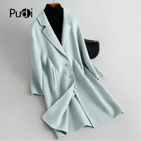 PUDI RO18142 2019 Women Fall Winter lady llama fur/ wool solid jacket with pocket free style pocket leisure coat