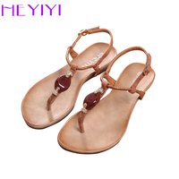 HEYIYI Women Sandals 2018 New Soft Sole Flat EVA Gladiator Shoes Snake Print Resin Stone Decoration