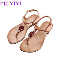 HEYIYI Women Sandals 2018 New Soft Sole Flat EVA Gladiator Shoes Snake Print Resin Stone Decoration