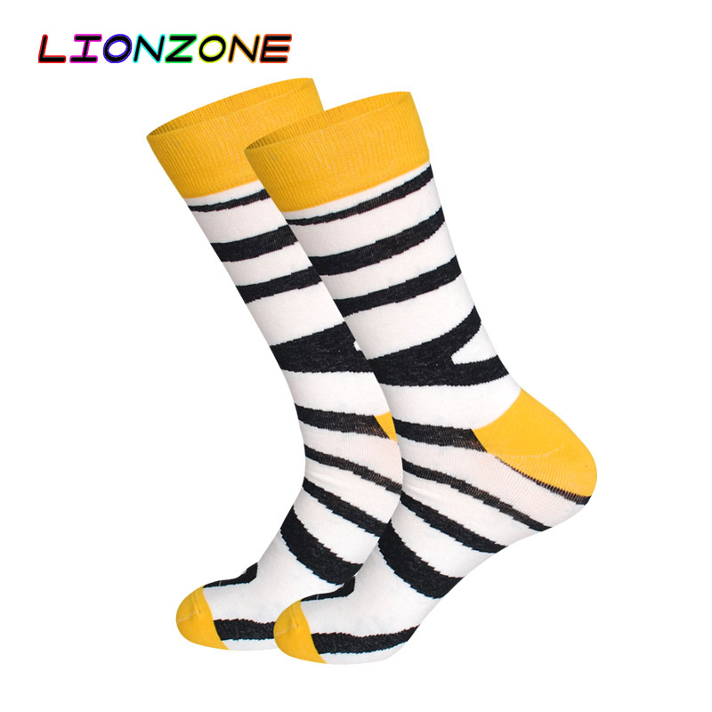 8a898d953b0c5 LIONZONE Men Happy Socks Art Painting Flamingo Zebra 5Colors Combed Cotton  Hip hop Funny Long Socks Chaussettes Homme Fantaisie-in Men's Socks from ...