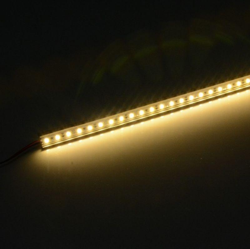 10 шт./лот Алюминий Led жёлтый декоративный светодиодный Дюралайт световой ультра тонкий 12VDC 50 см SMD5050 светодиоидная панель для кабинета/Караван/автомобиль Алюминий корпус-теплый белый
