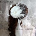Women Fancy Feather Fascinator Hats White Birdcage Veil Wedding Hats and Fascinators White Net Hair Accessories 18090