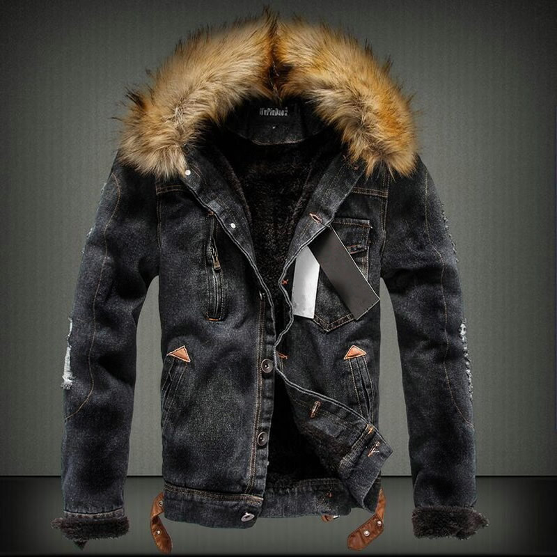 2019 Plus Size Winter Jeans Jacket Coat Men Thicken Hooded