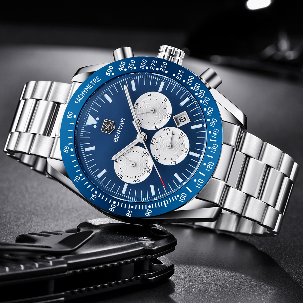 Topdudes.com - BENYAR Waterproof Stainless Steel Sports Fashion Chronograph Quartz Watch