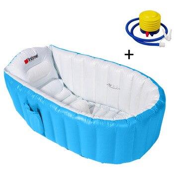 جديد 1 قطعة صديقة للبيئة نفخ حوض الاستحمام حوض دلو مع وسادة مريحة وسط مقعد مع مضخة نفخ للأطفال الأطفال