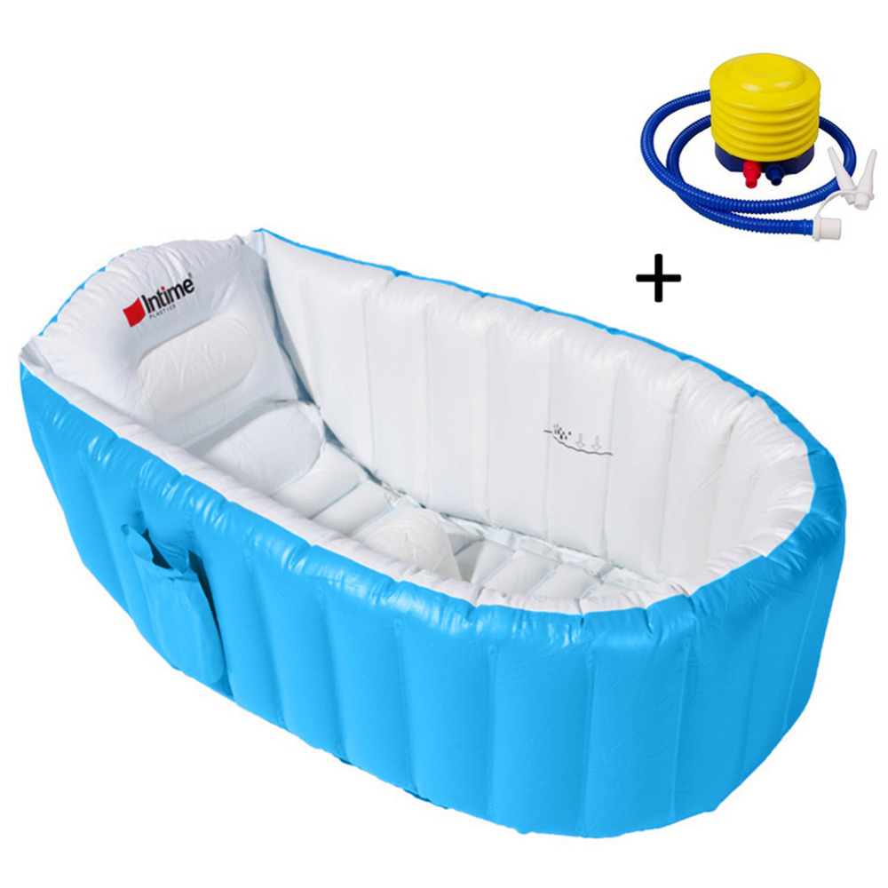 New 1pc Eco-Friendly Inflatable Bathtub Bathing Tub Bucket With Soft Cushion Central Seat With Inflator Pump For Babies Children eco friendly dyeing of silk with natural dye