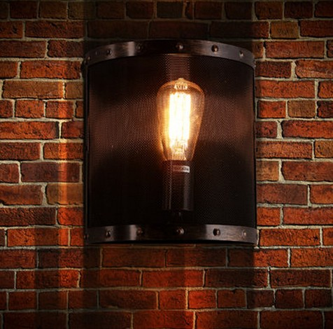 Nordic Loft Style Iron Net Edison Wall Sconce Industrial Lamp Vintage Wall Light For Home Antique Indoor Lighting Lampara Pared loft style iron edison wall sconce industrial lamp wheels vintage wall light fixtures antique indoor lighting lampara pared