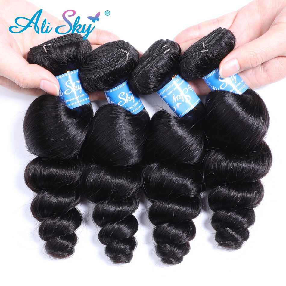 Alisky Malaysian Loose Wave Bundles Natural Black Hair Weaving 1/3/4 pcs  100% Human Hair Extensions  Remy Hair Weave