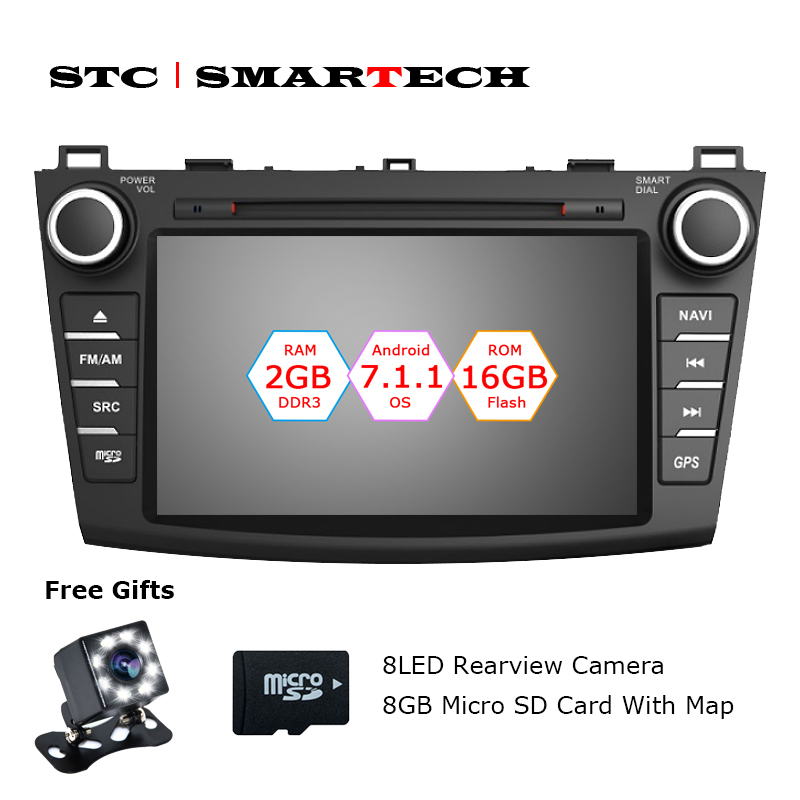 SMARTECH 2 Din Android 7.1.2 OS Car CD DVD Audio Player GPS Navigation for Mazda 3 Axela 8 inch Screen 2GB RAM 16GB ROM CAN-BUS